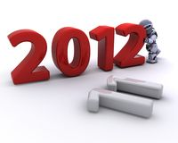 Robot Bringing the new year in Stock Photography