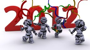 Robot Bringing the new year in Royalty Free Stock Images