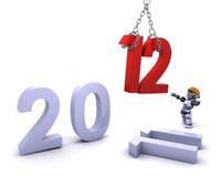 Robot Bringing the new year in Royalty Free Stock Photo