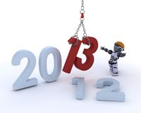Robot bringing in the new year Stock Photography
