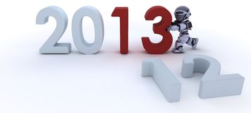 Robot  bringing in the new year Royalty Free Stock Photos