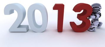 Robot  bringing in the new year Stock Images