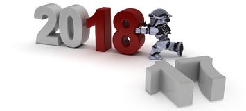 Robot bringing in the new year Royalty Free Stock Photo