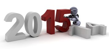 Robot bringing in the new year. 3D Render of a Robot celebrating new years Royalty Free Stock Photography