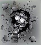Robot broken wall Stock Image