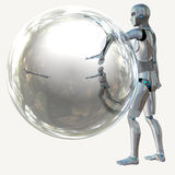 Robot with bubble Stock Photography