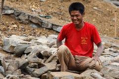 Robot Budowlany przy Myanmar tamą Zdjęcia Royalty Free