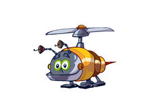 Robot Bug. An illustrated cartoon of a robot bug with a rotor to fly, isolated on white background Stock Images