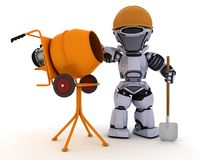 Robot builder with cement mixer Royalty Free Stock Image