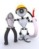Robot builder with wire cutters Stock Photos