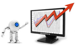 Robot business graph Stock Photos