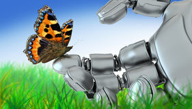 Robot and  butterfly Stock Images