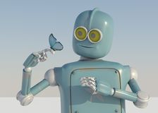 Robot and butterfly on hand a blue background. retro toy and nat. Ure royalty free illustration