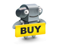 Robot button buy icon. Robot button icon with buy table royalty free illustration