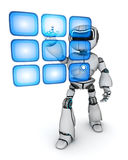 Robot and buttons hologram Stock Photography