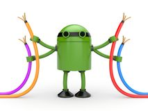 Robot with cables. 3D Robot with colored wires Stock Image