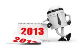 Robot with calendar 2013 Royalty Free Stock Image