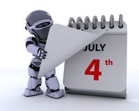 Robot with a calender. 3D render of a robot with a calender Royalty Free Stock Images