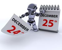 Robot with a calender Royalty Free Stock Image