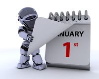 Robot with a calender. 3D render of a robot with a calender stock illustration