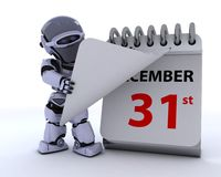 Robot with a calender. 3D render of a robot with a calender Stock Photos