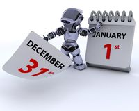 Robot with a calender Royalty Free Stock Photography