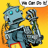 Robot we can do it protest future power machine Stock Images