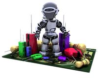 Robot With Capacitors and Resistors. 3D Render of a Robot With Capacitors Resistors and semi-conductors Stock Photography