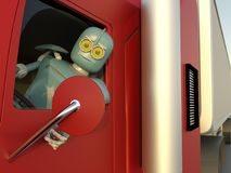 Robot in car 3d render.  royalty free illustration