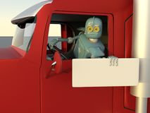 Robot in car 3d render.  vector illustration