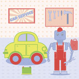 Robot in the car service. Cute robot mechanic working in the car service Royalty Free Stock Photography
