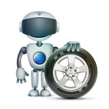 The robot with a car wheel, vector. The robot stands next to the car wheel stock illustration