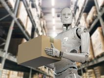 Robot carry cardboard box Stock Image