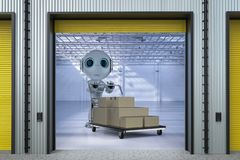 Robot carry cardboard boxes. Automation factory concept with 3d rendering robot carry cardboard boxes in factory