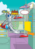 Robot carrying a birthday cake Royalty Free Stock Photos