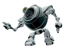 Robot cartoon. A view of a cartoon drawing of a fictional robot with a body that appears to include a camera lens vector illustration
