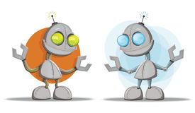Robot Cartoon Character Mascots. Two  robot character illustrations Royalty Free Stock Images
