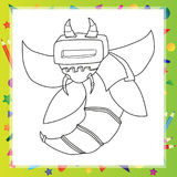 Robot Cartoon Character Outlined Version Royalty Free Stock Image