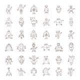 Robot cartoon doodle, vector illustration. Stock Photo