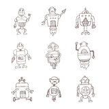 Robot cartoon doodle, vector illustration. Royalty Free Stock Image