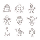 Robot cartoon doodle, vector illustration. Stock Image