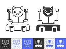 Robot Cat simple black line vector icon royalty free illustration