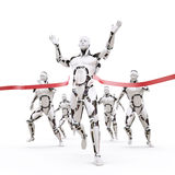 Robot champion. The robot crosses the finish line Royalty Free Stock Images