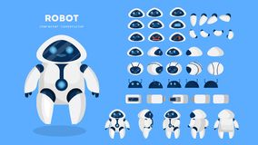 Robot character for animation with various views vector illustration