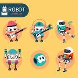 Robot character. Cartoon design illustration vector collection Royalty Free Stock Photos