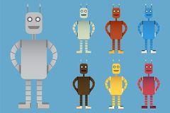 Robot character design collection. Set of different robot color Royalty Free Stock Photos