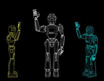 Free Robot Character Greeting. Isolated On Black Background. Vector O Royalty Free Stock Photography - 130158107