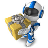 Robot character holding a gift, 3D Robot character Royalty Free Stock Images