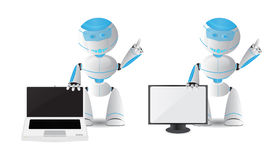 Robot character with laptop and TV Stock Photo