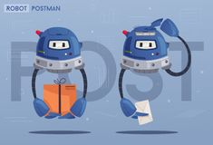Robot character. Technology, future. Cartoon vector illustration royalty free illustration